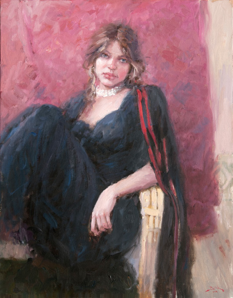 Dan Beck, Arrangement in Black and Red, oil, 28 x 22.