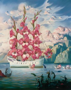 Vladimir Kush, Arrival of the Flower Ship, oil, 39 x 31.