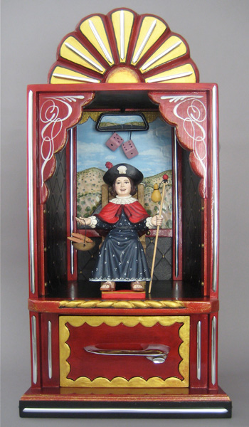 Arthur Lopez, Santo Nino Del Camino, hand-carved pigmented wood, 32 x 17 x 11.