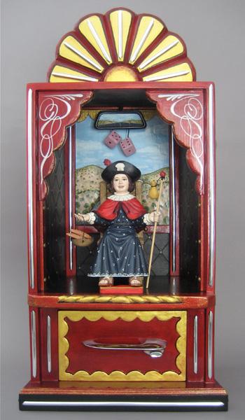 Arthur Lopez, Santo Nino Del Camino, hand-carved pigmented wood, 32 x 17 x 11.