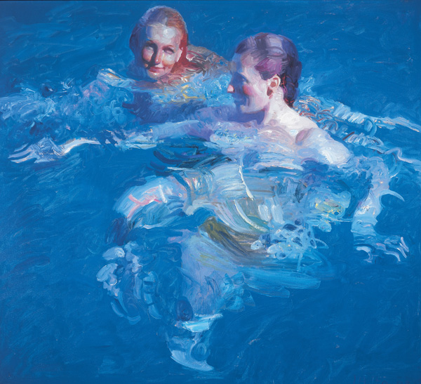 John Asaro, Cerulean Pool, oil, 41 x 45.