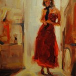 Lady in Red, oil, 18 x 12.