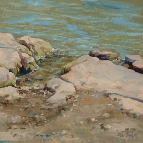 Robert Rohm, At the Waters Edge, oil, 14 x 14.