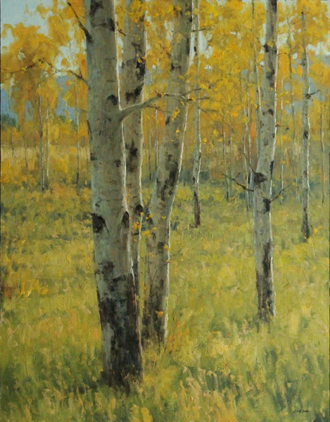 Keith Bond, Autumn Aspens, oil, 36 x 28.