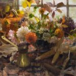 Daniel Keys, Autumn Flowers by the Window, oil, 20 x 20.