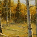 Dan Young, Autumn Through the Aspens, oil, 8 x 16.