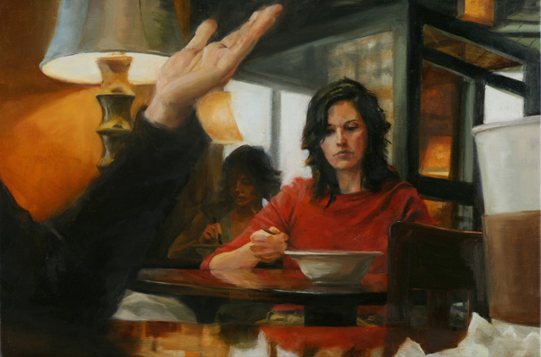 Ned Axthelm, Eating Alone, oil, 26 x 33.