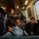 Ned Axthelm, Through the Train, oil, 24 x 30.