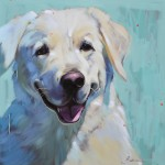 Samantha Buller, Fetching, oil, 30 x 30.