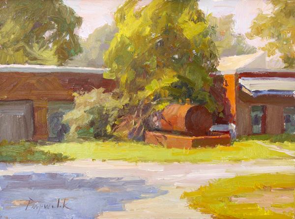 Camille Przewodek, Back of the McCord Building, oil, 9 x 12.