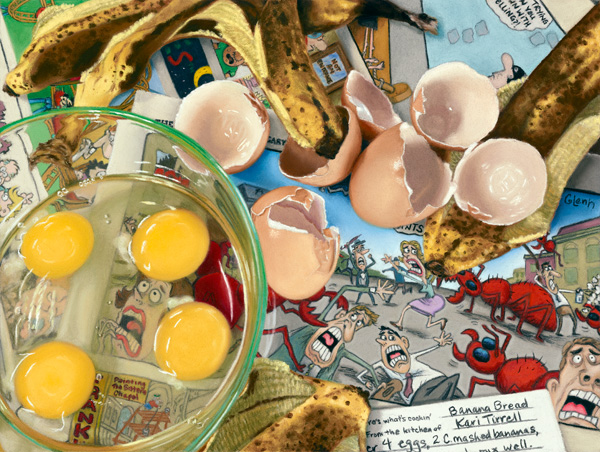 Kari Tirrell, Banana Bread, pastel, 9 x 12.