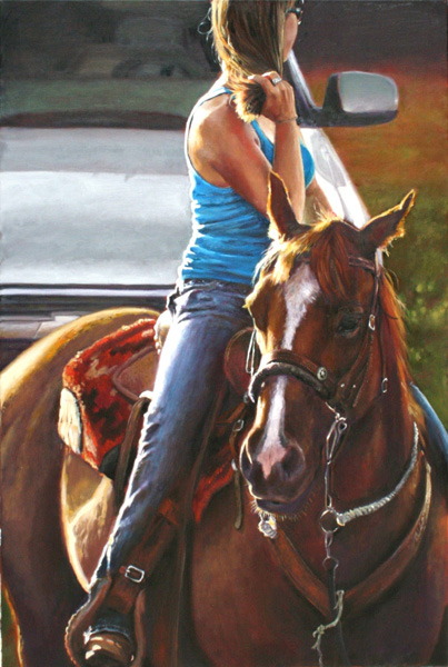 Barry Carter, Cowgirl's Best Friend, oil, 24 x 36.