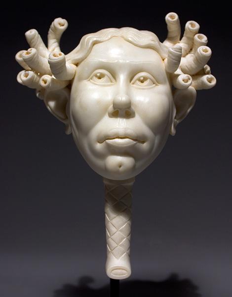 Béla Bácsi, Bambino With Curls, marble, 27 x 9 x 6.