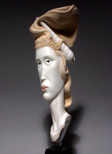 Béla Bácsi, She Sells Seashells, marble, 28 x 8 x 6