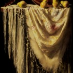 Deborah Bays, Pears, Piano Shawl and Mandolin, pastel, 30 x 21.