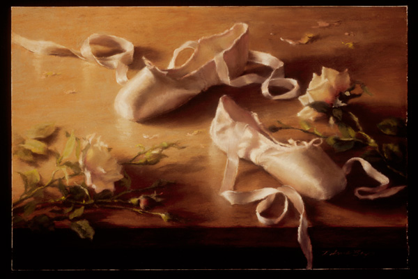 Deborah Bays, Pointe Shoes, Ribbons and Roses, pastel, 12 x 18.