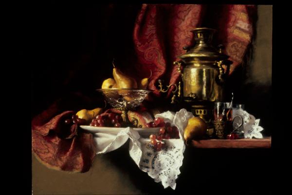 Deborah Bays, Tea with Tchekhov, pastel, 24 x 30.