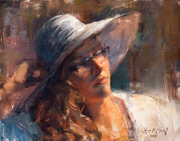 Jeff Merrill, Beach Hat, oil, 11 x 14.