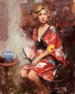 Dan Beck, Red Kimono, oil, 20 x 16.