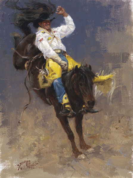 Bobby Mote, World Champion, oil, 12 x 9.