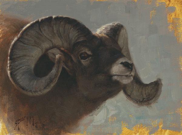 Ram Study, oil, 9 x 12.