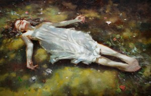 Kevin Beilfuss, Ophelia, oil, 24 x 36.