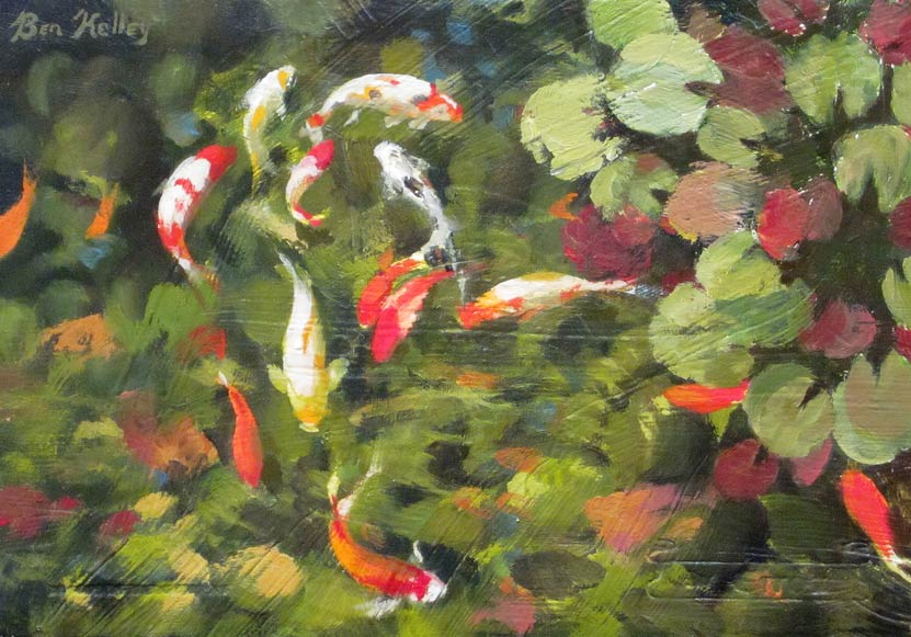 Benjamin Kelley, Koi Fish, oil,  6 x 9.