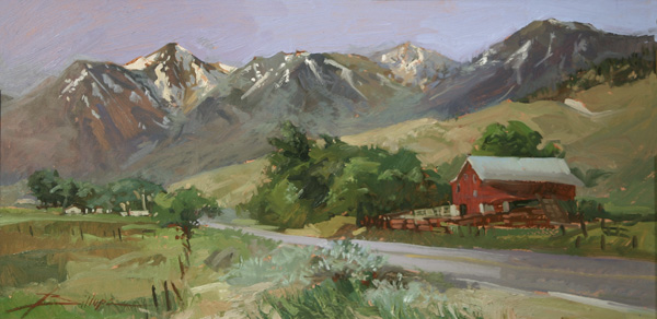 Betty J. Billups, Just Over the Pass, oil, 12 x 24.
