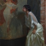 Suchitra Bhosle, Model in the Studio, oil, 34 x 24.