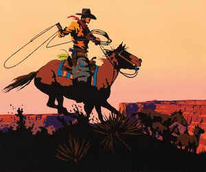 Bill Schenck, Ride off on the Mesa, oil, 30 x 36.