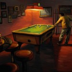 Billiards at Embers Lounge, oil, 18 x 24.