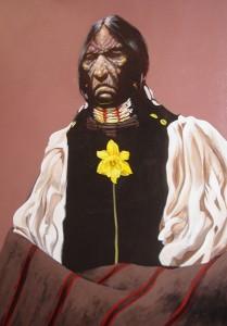 Lawrence Lee, Black Vest, acrylic, 48 x 36.