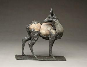 Pete Zaluzec | Blacktail, river stone/bronze, 11 x 10 x 4.