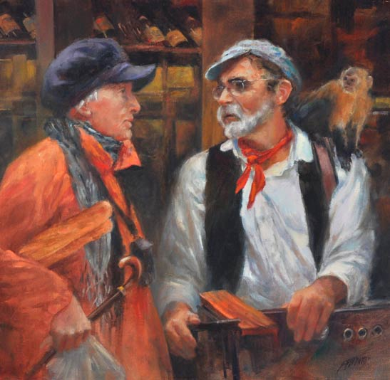 Susan Blackwood, Les Amis Vieux ( The Old Friends ), oil, 20 x 20.