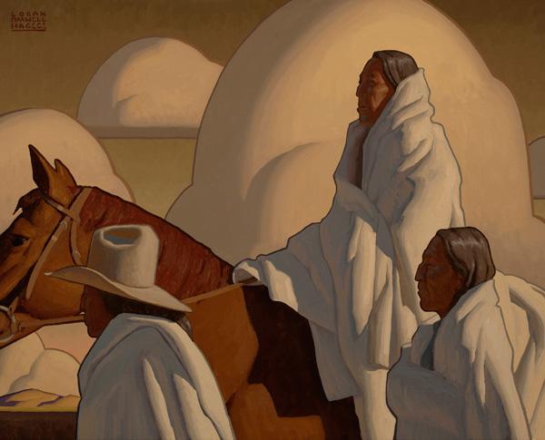 Logan Maxwell Hagege, Blankets and Clouds, oil, 32 x 40.
