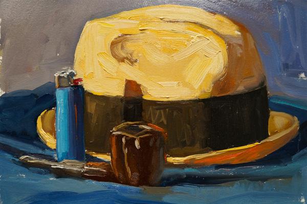 Scott Prior, Blue Lighter, oil, 9 x 12.