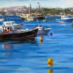 Mitch Baird, Blue on the Bay, oil, 12 x 24.