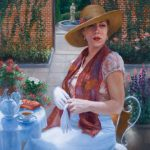 Lia Bardin Bomar, Tea in the Garden, oil, 16 x 20.