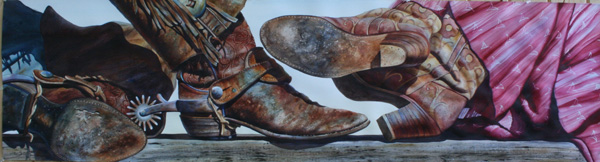 Nelson Boren, Get'n Serious, watercolor 20 x 73.