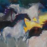 Jean Richardson, Bounding Into Light, acrylic, 56 x 86.