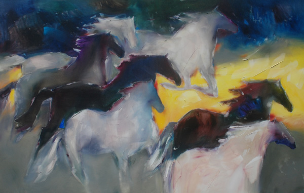 Jean Richardson, Bounding Into Light, acrylic, 56 x 86.