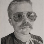 Destiny Bowman, The Mustache Club: Max With Glasses, charcoal, 30 x 22.