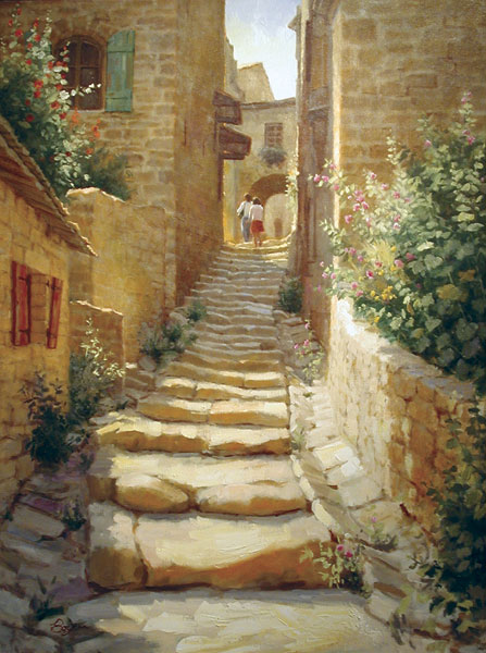 Richard Boyer Old Steps, Gordes, oil, 40 x 30.