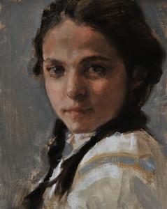 Johanna Harmon, Braids, oil, 10 x 8.