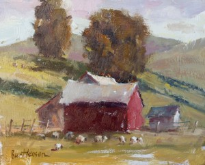 Brent Jensen, Red Barn, oil, 8 x 10.