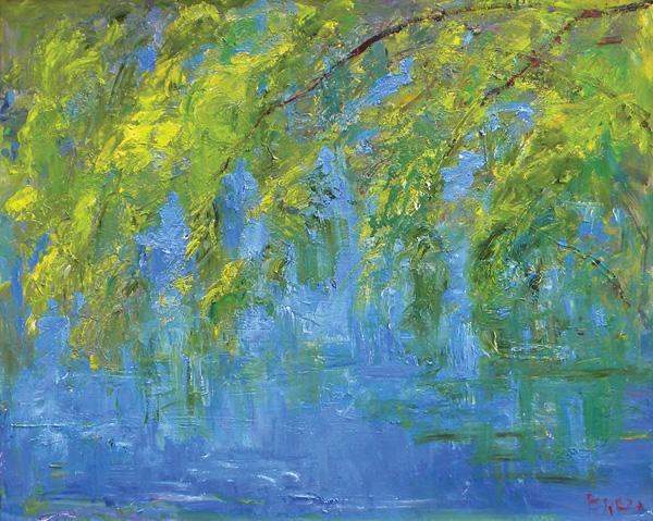 Joseph Breza, Willows in Spring, oil, 24 x 30.