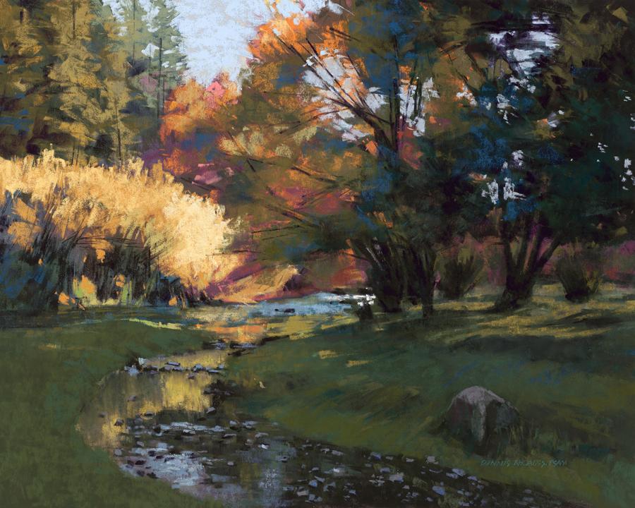 Dennis Rhoades, Bright Before Sunset, pastel, 16 x 20.