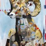 Britt Freda, Bighorn Sheep, acrylic/ graphite, 36 x 24.