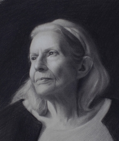 Brock Alius, Grammy, charcoal/chalk, 10 x 12.