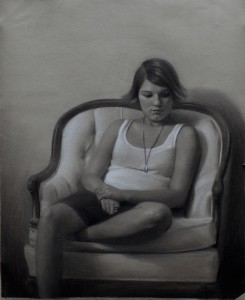Brock Alius, Olivia, charcoal/chalk, 19 x 22.